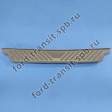 Бампер задний Ford Transit 00-06, 06-14 ( кожух пластиковый с подножкой, с отверстиями под датчики парковки )